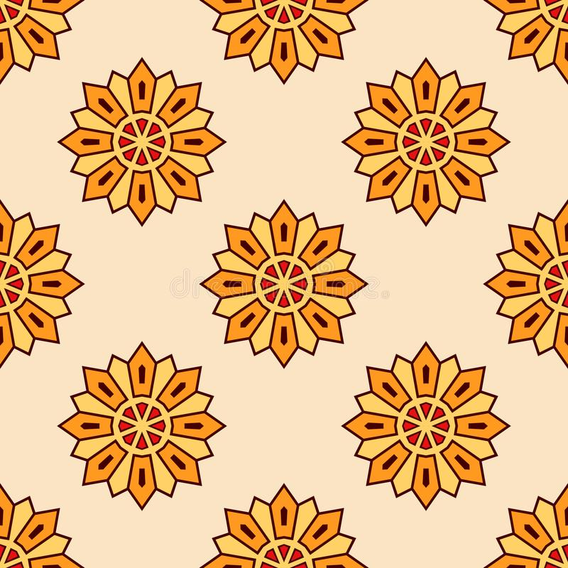 Modèle floral de mandala de couleur orange sans couture abstraite illustration de vecteur
