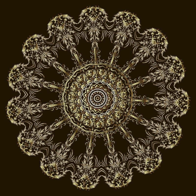 Modèle floral de mandala de cru de broderie Ornement rond de tapisserie colorée de vecteur Texture grunge d'or de dentelle Brodé  illustration stock