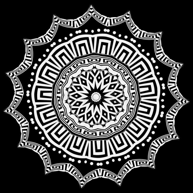 Mod?le floral de mandala de vecteur de rond grec Conception noire et blanche La cl? grecque serpente ornement de cercle avec des  illustration libre de droits