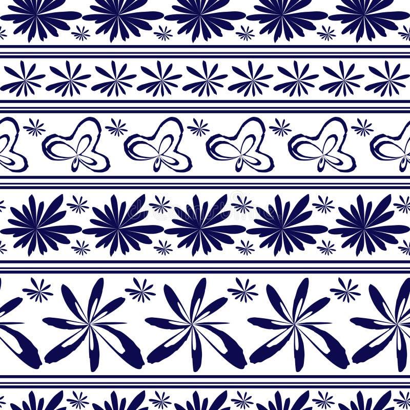 Modèle floral de porcelaine de damassé de cru de vecteur sans couture illustration stock