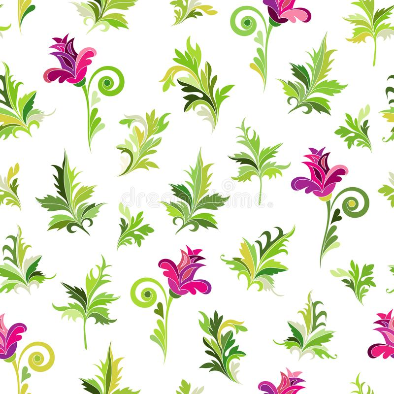 Modèle floral de SeamlessSeamless Le rose simple fleurit les feuilles vertes de whith sur le backgound blanc Dirigez la configura illustration de vecteur