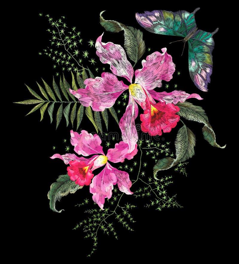 Modèle floral de tendance de brigt de broderie avec les orchidées et le papillon illustration de vecteur