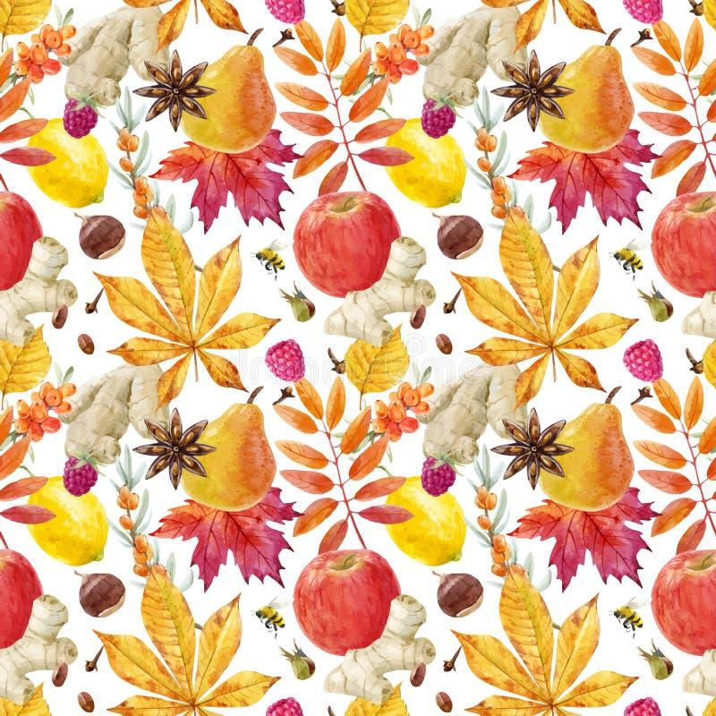Modèle floral de vecteur d'automne d'aquarelle illustration stock