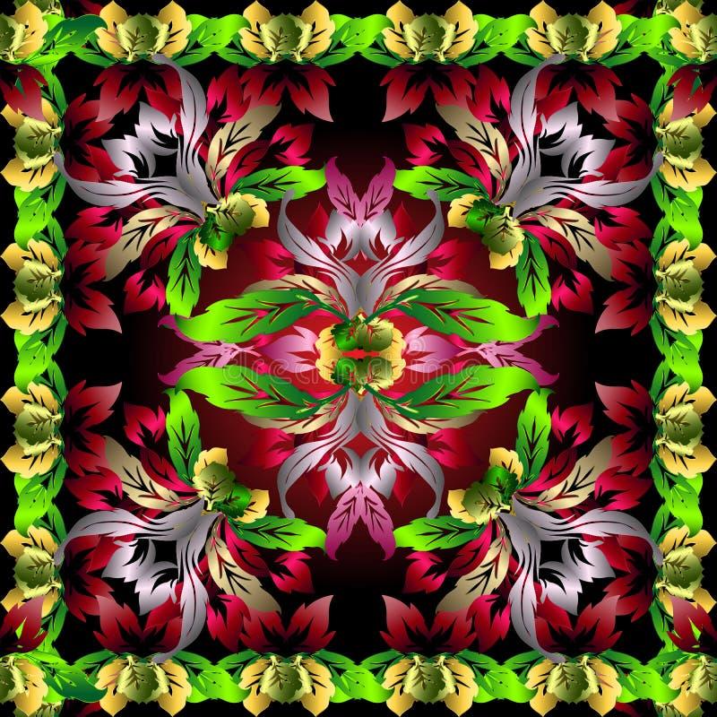 Modèle floral de vecteur de l'ornamental 3d CCB coloré modelé de soie illustration libre de droits