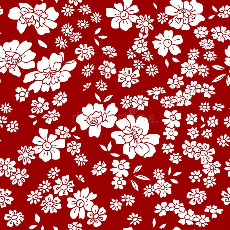 Modèle floral de vecteur sans couture dans le rétro style illustration stock
