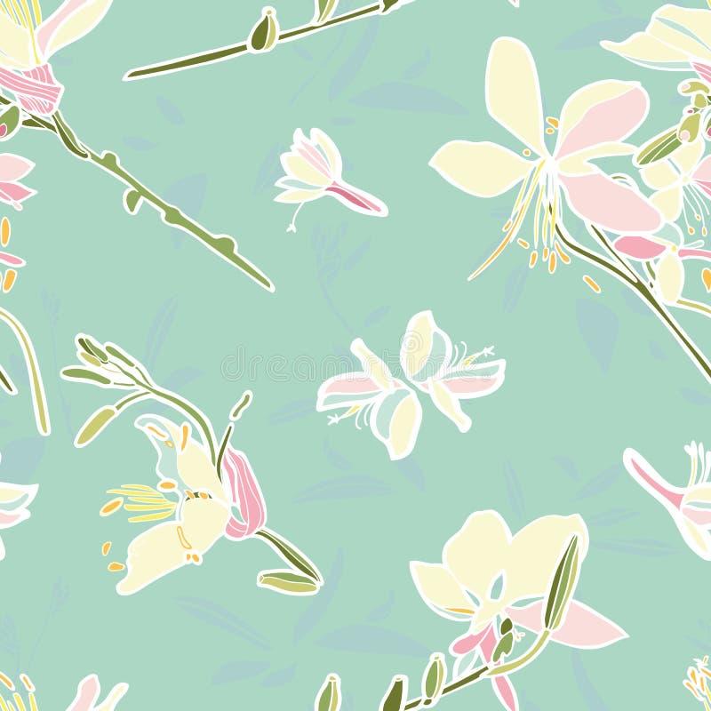 Modèle floral de vecteur de turquoise avec le lis illustration libre de droits
