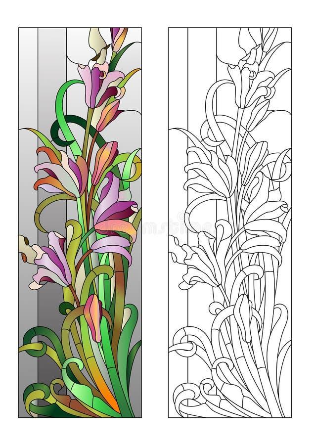 Modèle floral de verre coloré illustration de vecteur