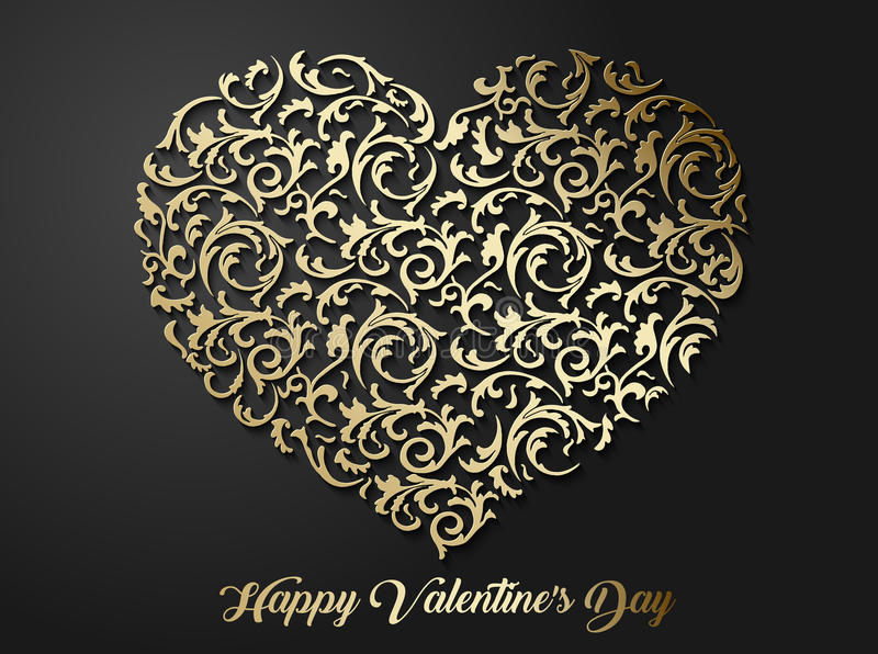 Modèle floral en forme de coeur d'or avec des feuilles Symbole modelé de l'amour 3d avec l'ombre sur le fond foncé illustration libre de droits