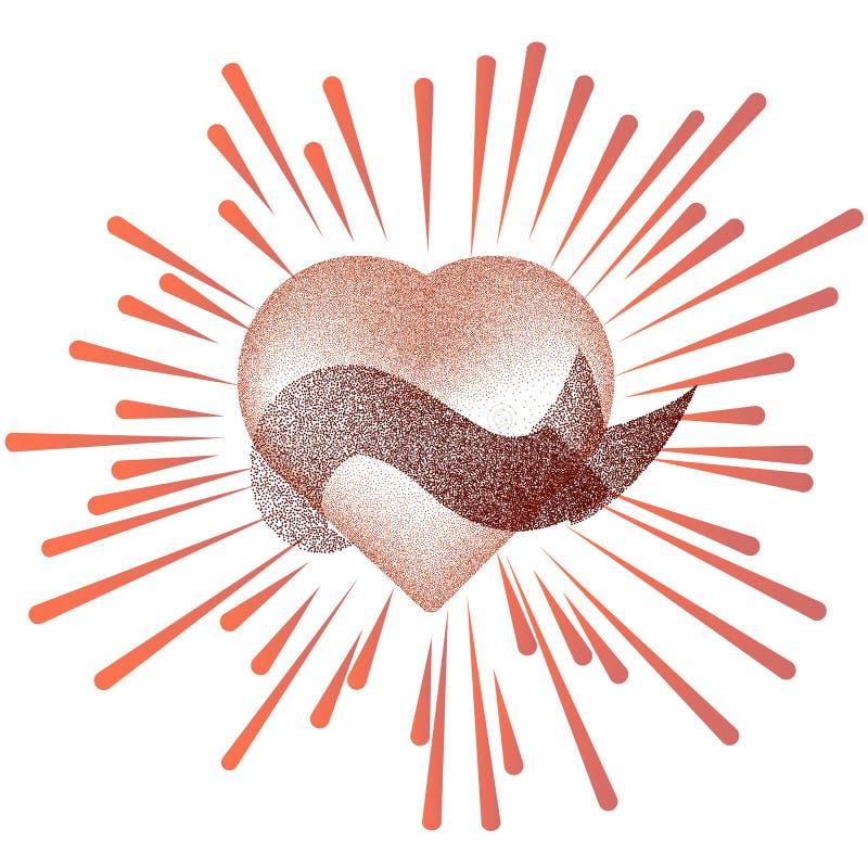 Modèle floral en forme de coeur rouge Carte postale de coupe de papier de jour de valentines belle illustration stock