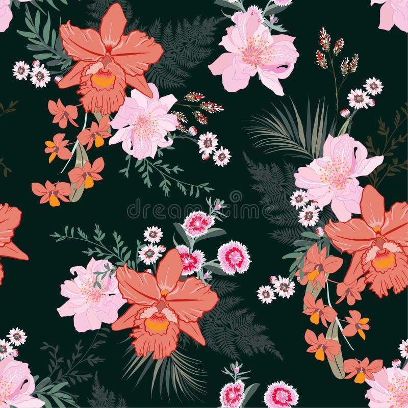 Modèle floral et sans couture de forêt tropicale de beau bloomong tiré par la main avec des fleurs d'orchidée et usines botanique illustration de vecteur