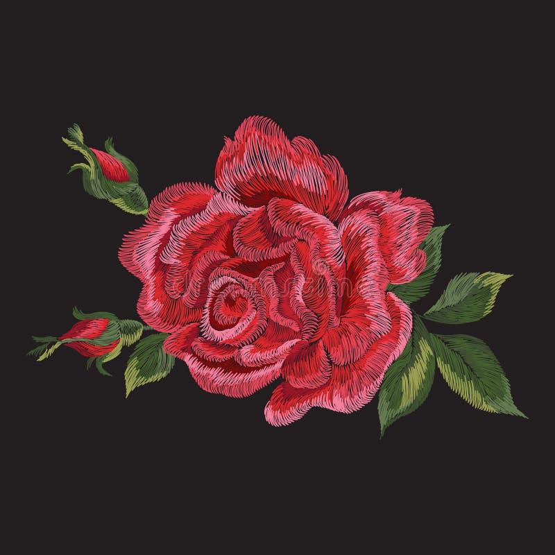 Modèle floral ethnique de tendance de broderie avec la rose de rouge illustration stock