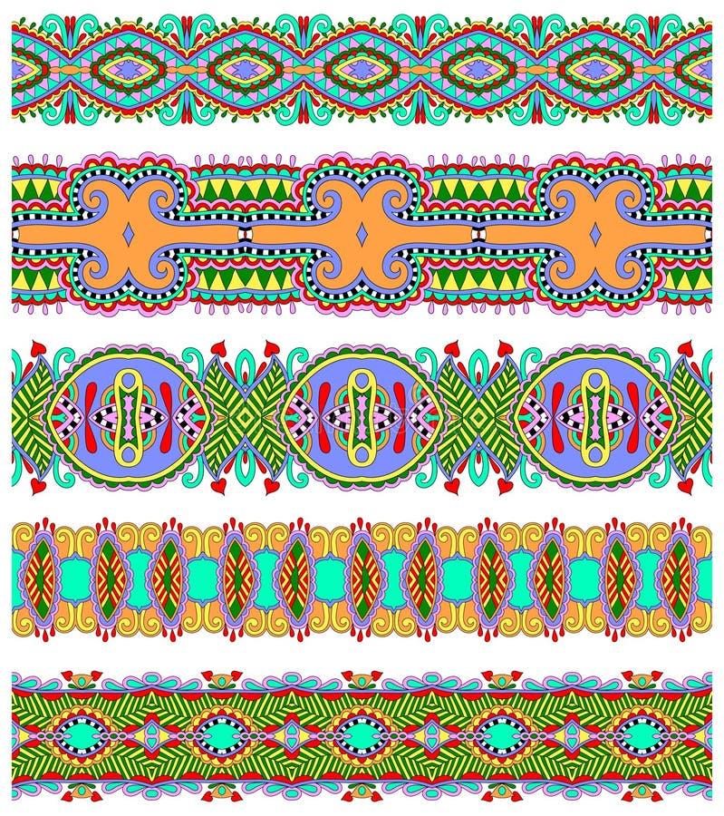 Modèle floral ethnique sans couture de rayure de Paisley illustration de vecteur