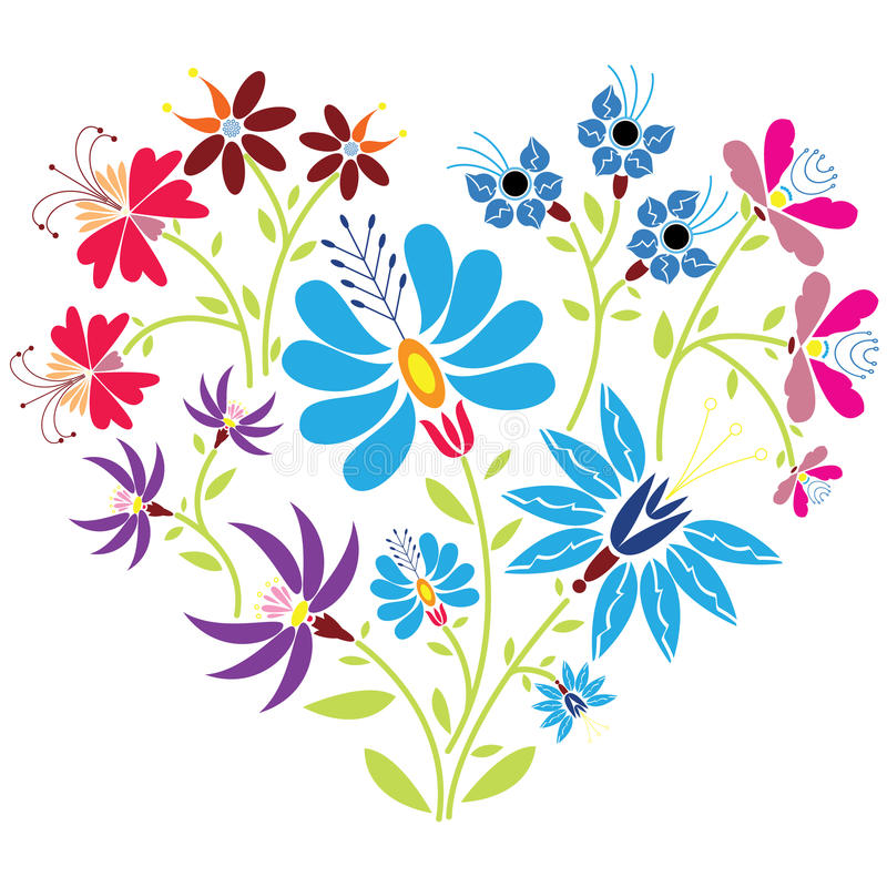 Modèle floral folklorique ethnique dans la forme de coeur sur le fond blanc illustration stock