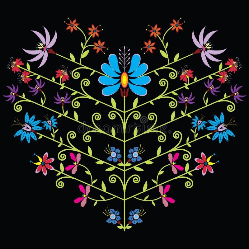 Modèle floral folklorique ethnique dans la forme de coeur sur le fond noir illustration de vecteur