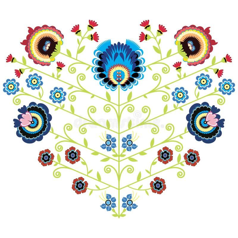 Modèle floral folklorique polonais dans la forme de coeur sur le fond blanc illustration de vecteur