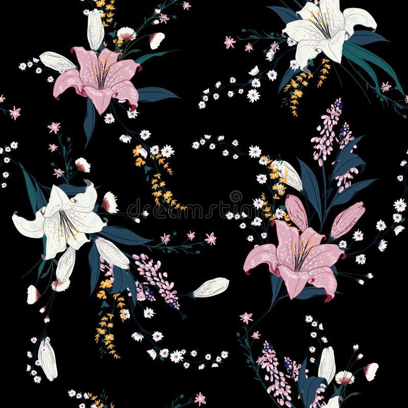 Modèle floral foncé à la mode dans les nombreux genre de fleurs Tropica illustration libre de droits