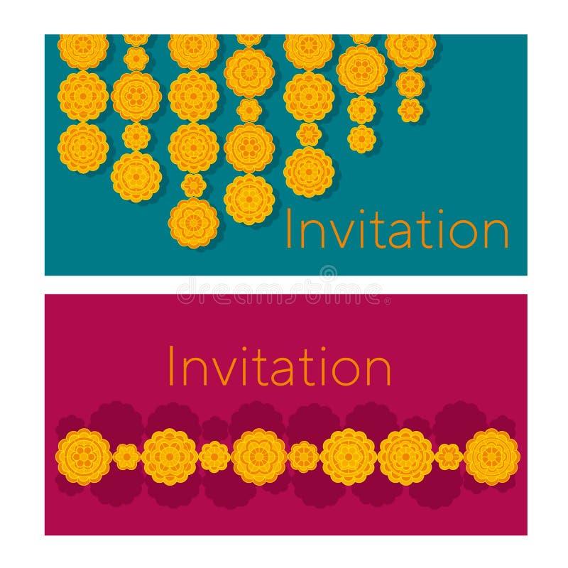 Modèle floral géométrique de soucis dans le style indien illustration libre de droits