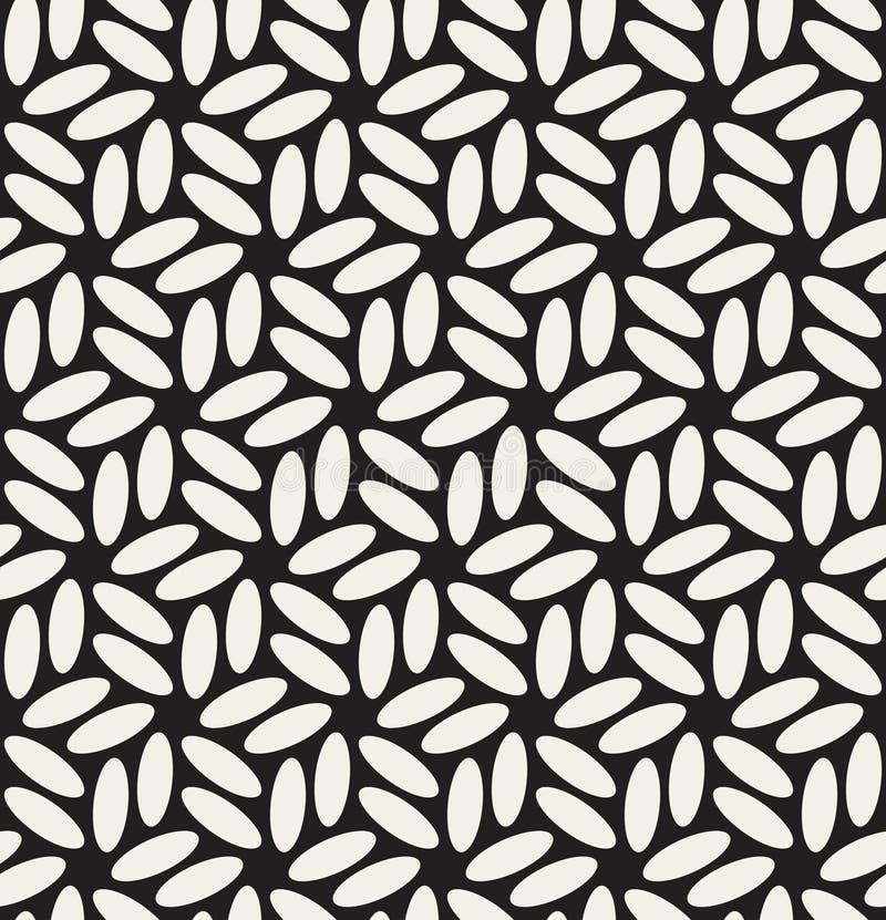 Modèle floral hexagonal noir de vecteur et par blanc arrondi sans couture d'ellipses illustration stock