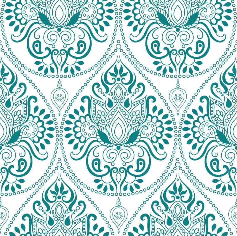 Modèle floral indien sans couture de Paisley Ornement ethnique de mandala Éléments de vintage et cadre ronds décoratifs de dentel illustration libre de droits