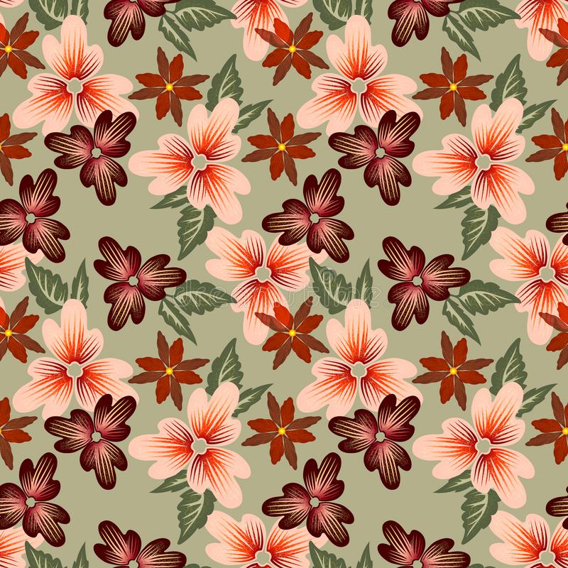 Modèle floral lumineux de trame avec les fleurs contrastantes décoratives illustration stock