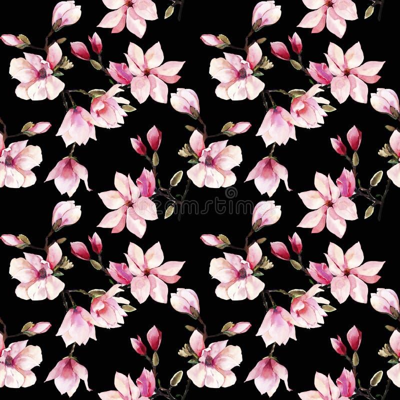 Modèle floral merveilleux de fines herbes d'été de belle belle offre d'une magnolia japonaise rose illustration libre de droits