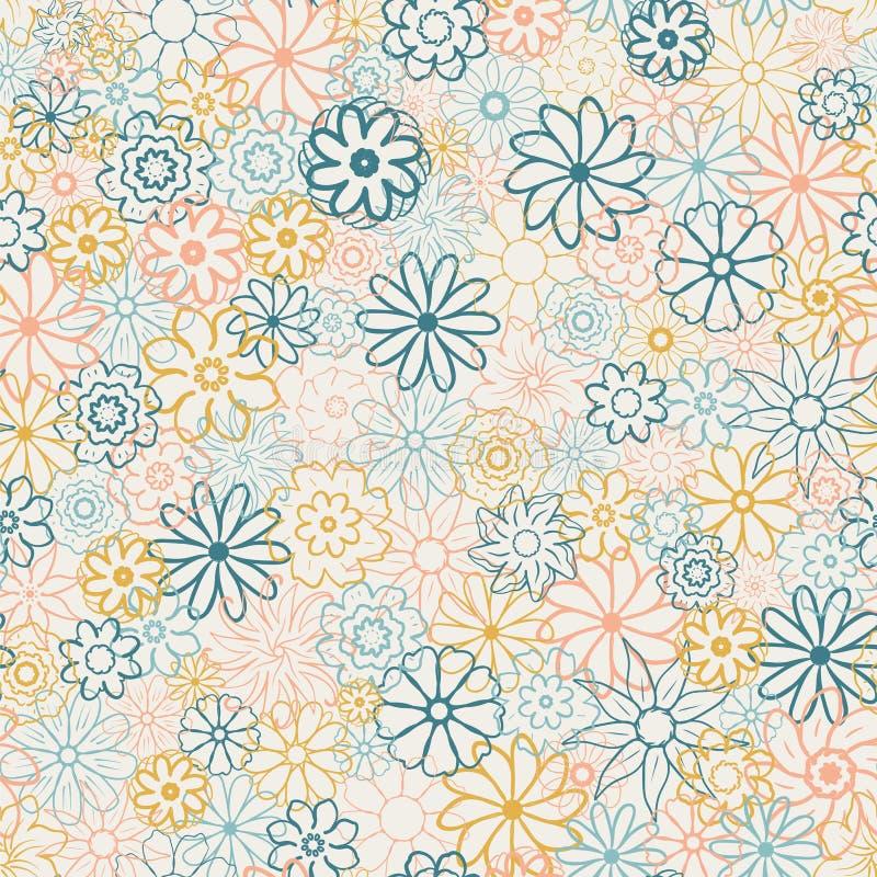 Modèle floral mignon en petite fleur Copie écervelée Les motifs ont dispersé aléatoire Texture sans joint Calibre élégant pour l' illustration de vecteur
