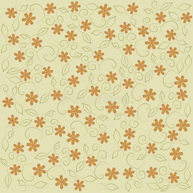 Modèle floral, modèle sur les fleurs oranges d'un fond beige, oeillet, feuilles, contour kaki et noir, ligne, vintage illustration libre de droits