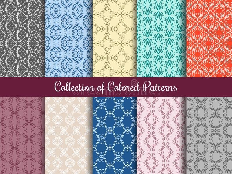 Modèle floral moderne réglé dans le style de vintage Collection sans couture de modèles avec des remous calligraphiques illustration libre de droits