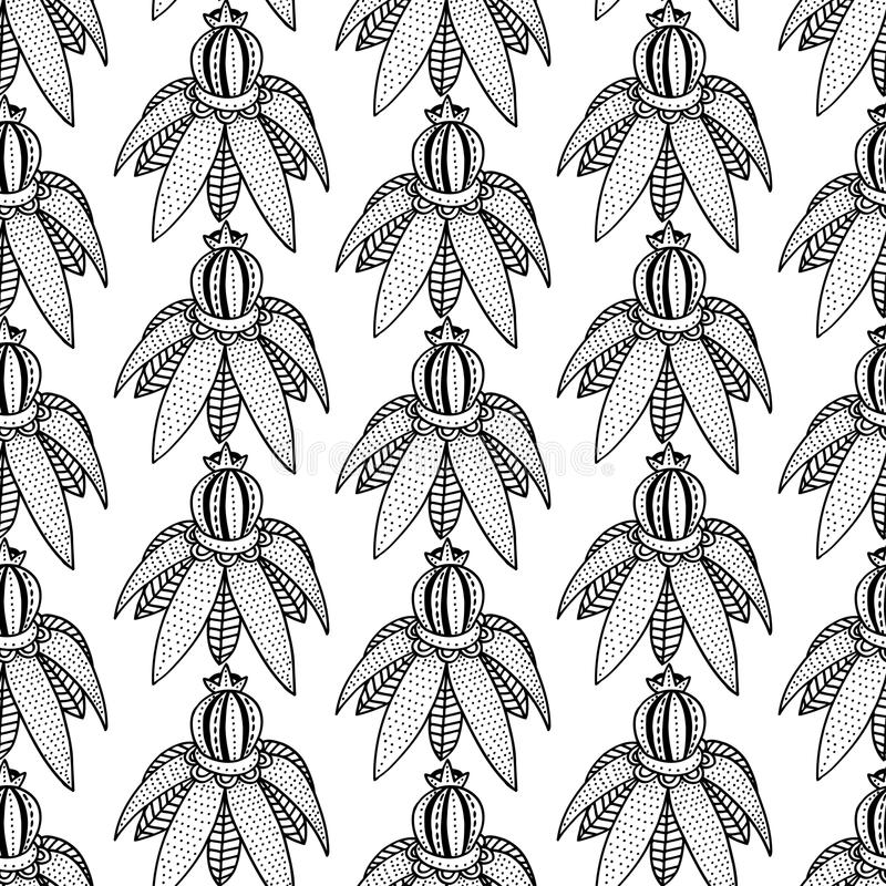 Modèle floral monochrome illustration de vecteur