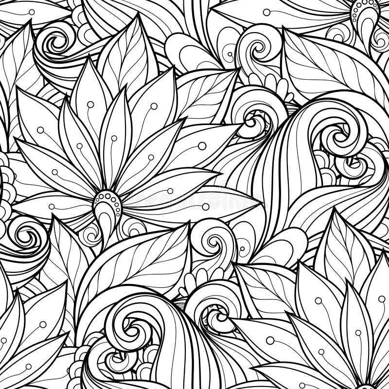 Modèle floral monochrome sans couture illustration stock