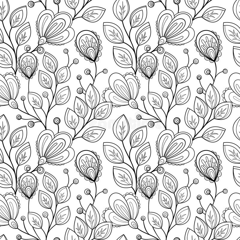 Modèle floral monochrome sans couture de vecteur illustration libre de droits