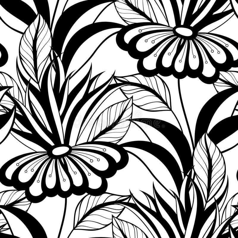 Download Modèle Floral Monochrome Sans Couture De Vecteur Illustration de Vecteur - Illustration du floral, herbes: 56481540