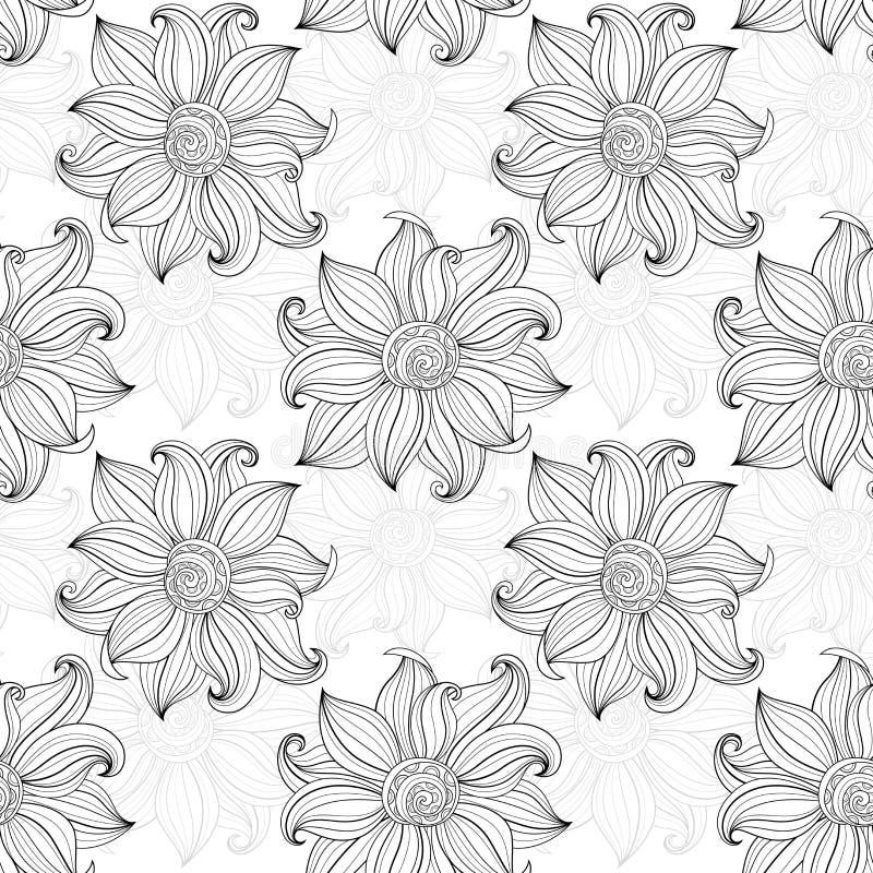 Download Modèle Floral Monochrome Sans Couture De Vecteur Illustration de Vecteur - Illustration du parterre, branchement: 56482427
