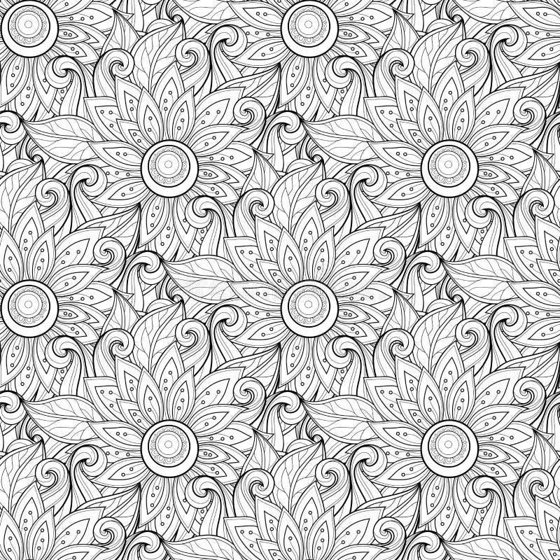Download Modèle Floral Monochrome Sans Couture De Vecteur Illustration de Vecteur - Illustration du bouquet, hippie: 56482433