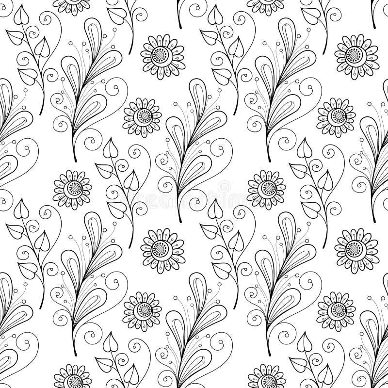 Download Modèle Floral Monochrome Sans Couture De Vecteur Illustration de Vecteur - Illustration du coloration, bourgeonnez: 56482525