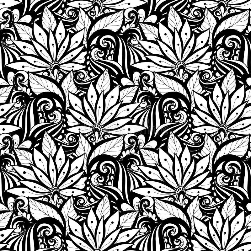 Download Modèle Floral Monochrome Sans Couture De Vecteur Illustration de Vecteur - Illustration du élément, forme: 56482531