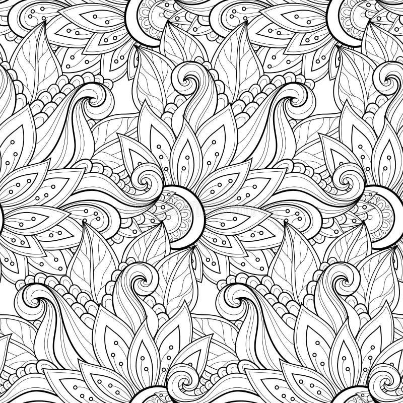 Download Modèle Floral Monochrome Sans Couture De Vecteur Illustration de Vecteur - Illustration du bourgeonnez, tissu: 56482562