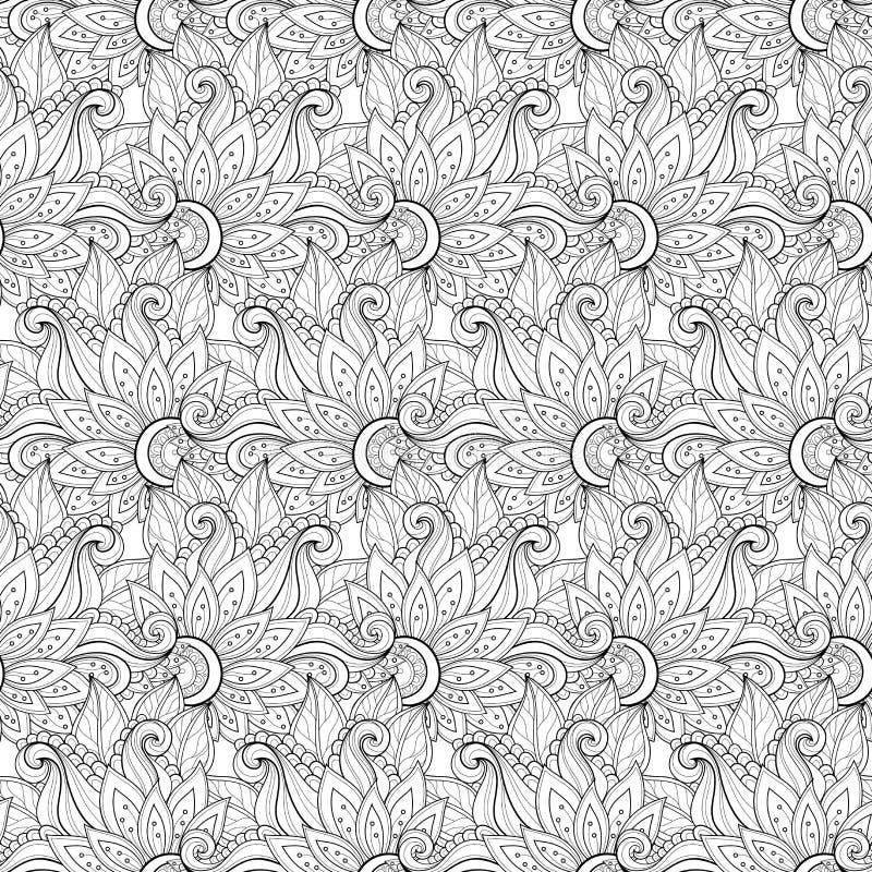 Download Modèle Floral Monochrome Sans Couture De Vecteur Illustration de Vecteur - Illustration du noir, main: 56482570