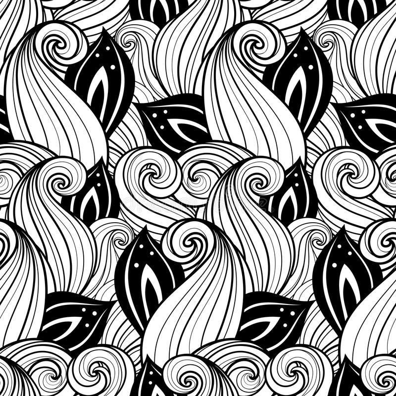 Download Modèle Floral Monochrome Sans Couture (vecteur) Illustration de Vecteur - Illustration du fond, deco: 56479901