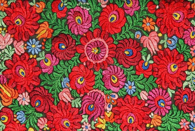 Modèle floral multicolore de broderie de main image stock