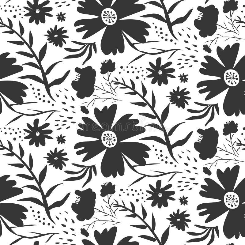 Modèle floral noir et blanc de contraste illustration stock