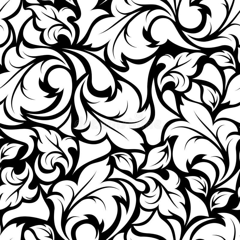 Modèle floral noir et blanc sans couture de vintage Illustration de vecteur illustration de vecteur