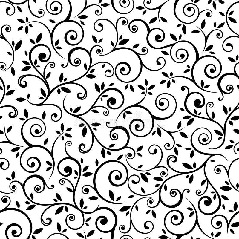 Modèle floral noir et blanc sans couture de vintage Illustration de vecteur illustration libre de droits