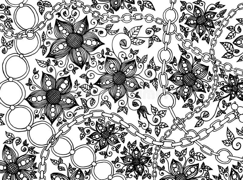 Modèle floral noir tiré par la main de griffonnage d'élégance avec les fleurs et la copie à chaînes sur le fond blanc illustration de vecteur