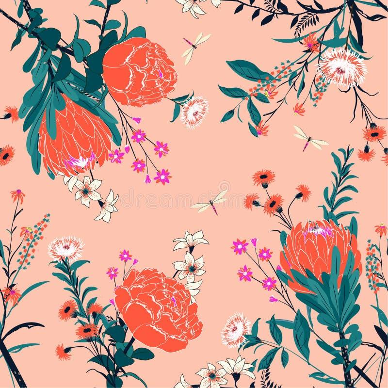 Modèle floral orange de vecteur frais et contrasty dans les nombreux parents illustration de vecteur