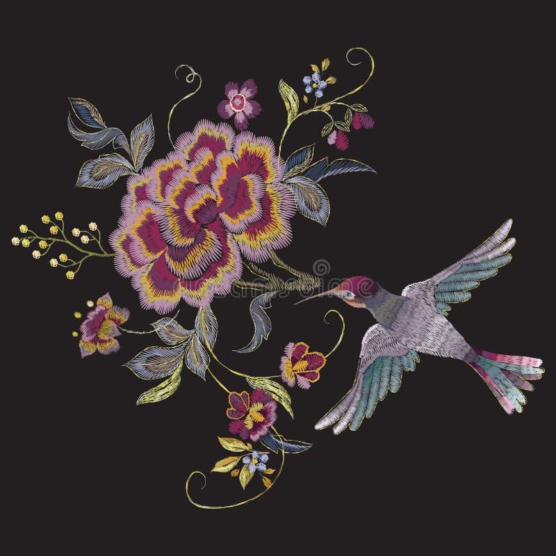 Modèle floral oriental de broderie avec l'oiseau et les roses illustration libre de droits