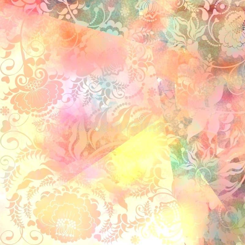Modèle floral, pastel rose-gris coloré, fond illustration de vecteur