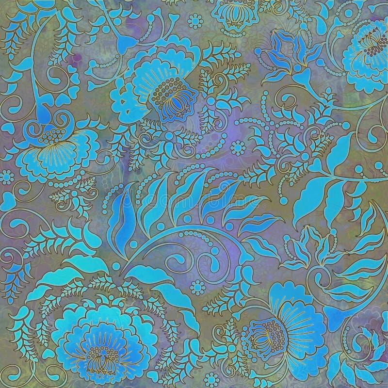 Modèle floral, pastel turquoise-gris coloré, fond illustration libre de droits