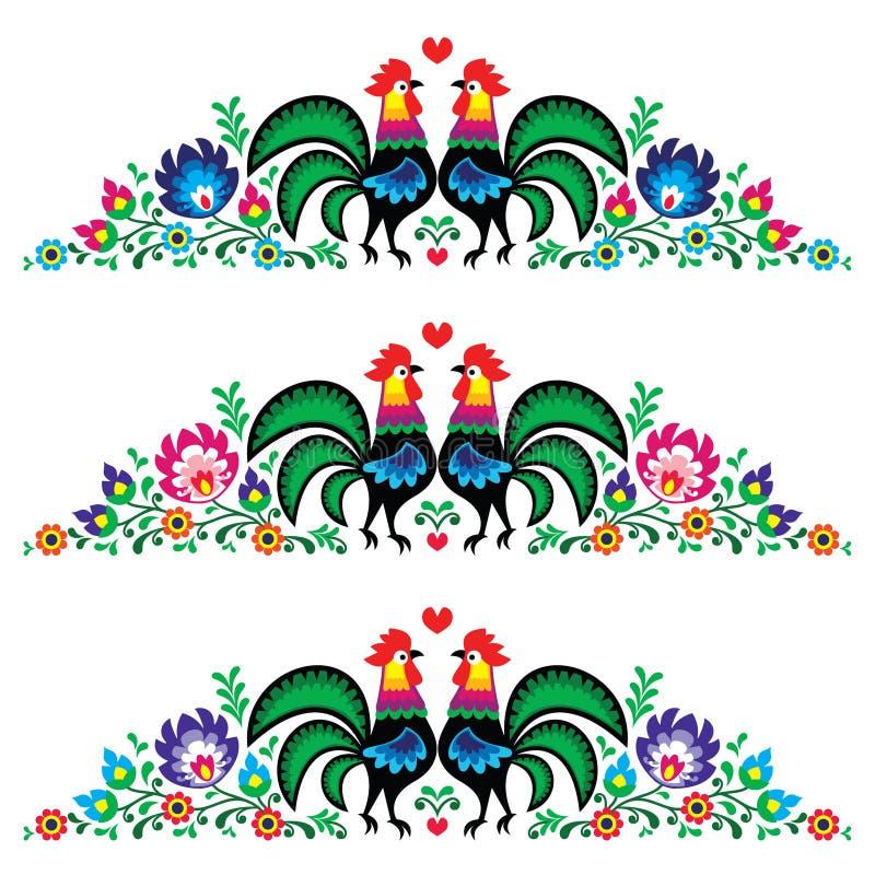 Modèle floral polonais de broderie avec des coqs illustration libre de droits