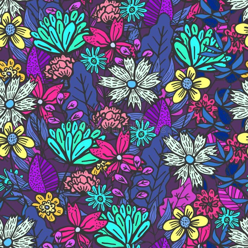 Modèle floral pourpre magique avec le désordre des fleurs illustration de vecteur